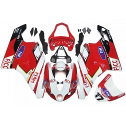 White & Red Motorcycle Fairings For 2003-2004 Ducati 749 / 999