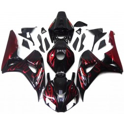Black & Red Flames Motorcycle Fairings For 2006-2007 Honda CBR1000RR