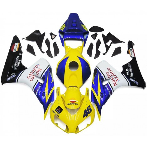 Yellow, Blue & White Motorcycle Fairings For 2006-2007 Honda CBR1000RR