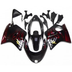 Black & Red Flames Motorcycle Fairings For 1997-2007 Honda CBR1100XX