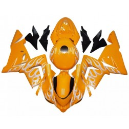 Orange & White Flames Motorcycle Fairings For 2004-2005 Kawasaki ZX-10R