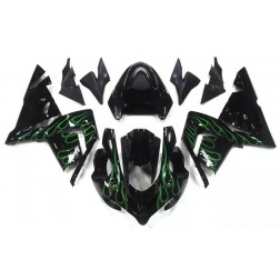 Black & Green Flames Motorcycle Fairings For 2004-2005 Kawasaki ZX-10R