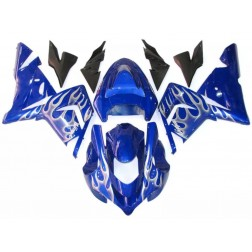 Blue & White Flames Motorcycle Fairings For 2004-2005 Kawasaki ZX-10R