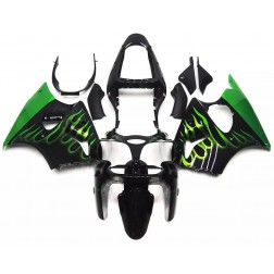 Black & Green Flames Motorcycle Fairings For 2000-2002 Kawasaki ZX-6R
