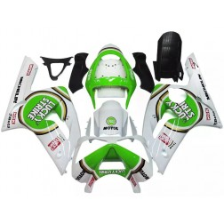 White & Green Lucky Strike Motorcycle Fairings For 2003-2004 Kawasaki ZX-6R