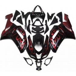 Black & Red Flames Motorcycle Fairings For 2007-2008 Kawasaki ZX-6R