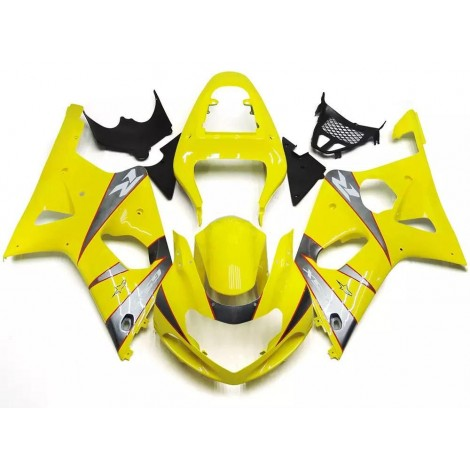 Yellow & Silver Motorcycle Fairings For 2000-2002 Suzuki GSX-R 1000 K1