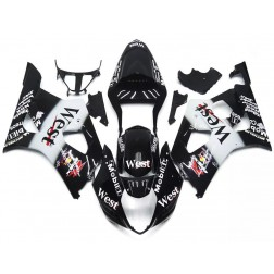Black & White West Motorcycle Fairings For 2003-2004 Suzuki GSX-R 1000 K3