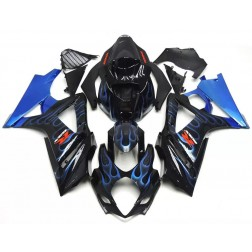 Black & Blue Flames Motorcycle Fairings For 2007-2008 Suzuki GSX-R 1000 K7
