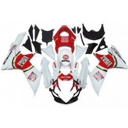 White & Red Lucky Strike Motorcycle Fairings For 2011-2016 Suzuki GSX-R 600/750 L1