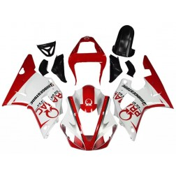 White & Red Motorcycle Fairings For 2000-2001 Yamaha YZF-R1