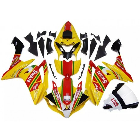 Yellow, Red & Green SWAN Motorcycle Fairings For 2007-2008 Yamaha YZF-R1