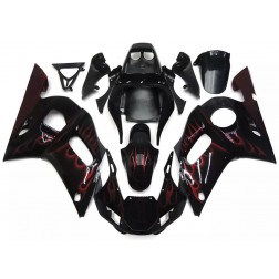 Black & Red Flames Motorcycle Fairings For 1998-2002 Yamaha YZF-R6