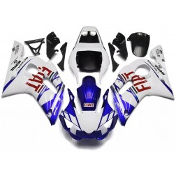 Blue & White FIAT Motorcycle Fairings For 1998-2002 Yamaha YZF-R6